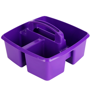 Storex, Small Caddy, Purple,  3 Compartments, Plastic, 9.25 x 9.25 x 5.25 Inches, 1 Piece
