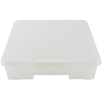 Storex, Hinged Stack-n-Store Craft Box with Locking Latch, Clear Plastic, 12 x 12 inches, 1 Each