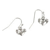 Bella Grace, Heart Shape with Cross Dangle Earrings, Zinc Alloy & Iron, Silver