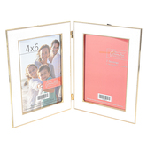Green Tree Gallery, White and Gold Beaded Double Opening Tabletop Photo Frame, 11 x 7.25 Inches
