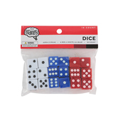 The Brainery, Traditional Dice, Red, Blue and White, 0.625-Inches, 18 Pieces, Grades K and older