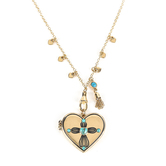 Modern Grace, 1 John 4:19 Heart with Turquoise Cross Locket Necklace, Gold, 22 Inches