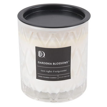 Darsee & David's, Gardenia Blossoms Diamond Patterned Jar Candle, Clear, 10 Ounces