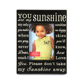 You Are My Sunshine Photo Frame, 5 x 7 inches, Black and Cream