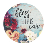 Carson Home Accents, Bless This Car Round Car Coaster, Absorbent Stoneware, Blue, 2 5/8 Inches