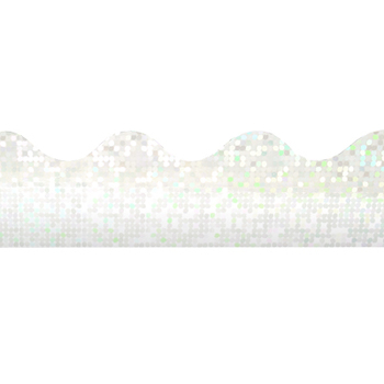 Renewing Minds, Scalloped Glimmer Border Trim, 32 Feet, Silver