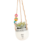 Natural Life, Bless This Car Hanging Succulent, Ceramic, Black/White, 7 Inches