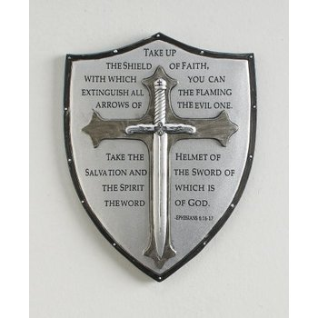 Roman, Inc., Armor of God Wall Plaque, Resin, Silver-Toned, 5 1/4 x 6 3/4 inches