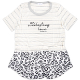 NOTW, Jeremiah 31:3 An Everlasting Love, Women's Short Sleeve Color Block Top, Leopard and Stripe, X-Small