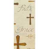 Tissue Paper, Faith Words and Crosses, Brown and Tan, 20 x 20 inches, 8 sheets