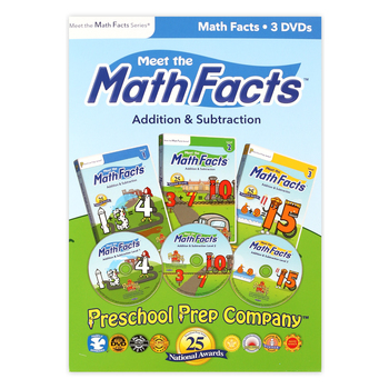Preschool Prep Company, Meet the Math Facts Addition and Subtraction 3 DVD Set, Ages 2-8 Years
