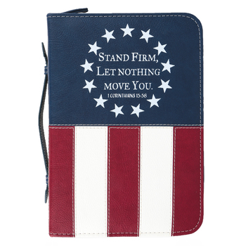 Divinity Boutique, 1 Corinthians 15:58 Stand Firm USA Flag Bible Cover, Red, White, & Blue, Medium