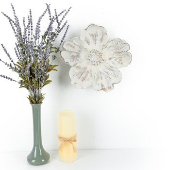 Large Distressed Flower Wall Plaque, Resin, White, 11 1/2 x 2 1/2 inches