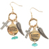 Wildflower Road, Blessed Charm Dangle Earrings, Zinc Alloy, Antique Gold and Silver