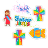 Playside Creations, Follow Jesus Lacing Cards, Multi-Colored, 5-6 x 7-8 Inches, 5 Cards