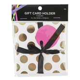 Brother Sister Design Studio, Polka Dot Gift Card Holder, White & Gold, 4 inches
