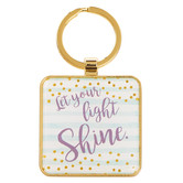 Christian Art, Let Your Light Shine Key Ring, Metal, Mint, 1 13/16 inches