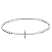 Spirit & Truth, Philippians 4:13, Christ My Strength Sideway Cross, Women's Bracelet, Stainless Steel, 8 Inches