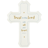 DaySpring, Trust In The Lord Confirmation Cross, Ceramic, White, 5 3/8 x 8 1/8 Inches