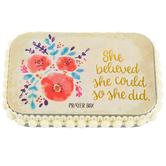 Natural Life, She Believed She Could So She Did Prayer Box, Tin, 3 3/4 x 2 1/4 x 1 inches