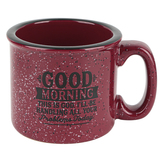 Dexsa, Good Morning Camping Coffee Mug, Ceramic, Burgundy & Black, 15 ounces