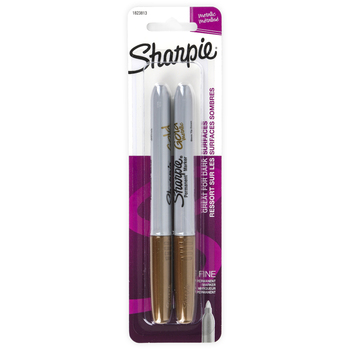 Sharpie, Permanent Markers, Fine Point, Metallic Gold, Pack of 2
