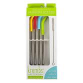 D.M. Merchandising, Krumbs Kitchen Straws, Stainless Steel & Silicone, 1 Each of 4 Designs