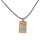 Glitter and Grace, It's Nacho Day Satan Cord Necklace, Orange/Black/Silver, 16 inch Cord