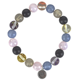 Faith in Bloom, Hebrews 11:1 Beaded Stretch Bracelet with Charm, Acrylic Beads, Multi-Colored