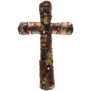 Leather Look Bible Verses Wall Cross, Resin, 17 x 11 inches