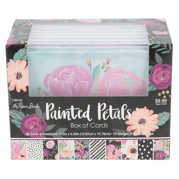 the Paper Studio, Painted Petals Box of Cards, 50 Cards with Envelopes, 5 1/2 x 4 1/4 inches