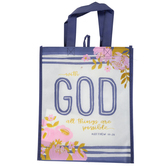 Renewing Faith, Matthew 19:26 With God All Things Are Possible Tote Bag, White and Navy, 12 x 10 x 4 inches