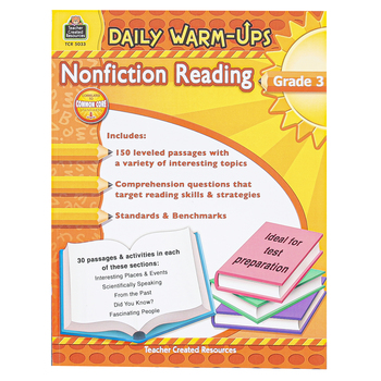 Teacher Created Resources, Daily Warm-Ups Nonfiction Reading Workbook, Reproducible, 176 Pages, Grade 3