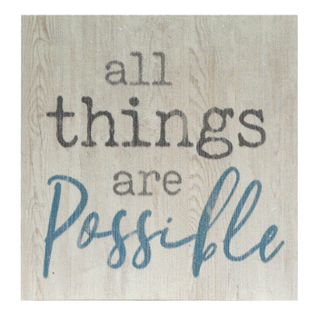 P. Graham Dunn, All Things Are Possible Tabletop Plaque, Pine Wood, 3 1/2 x 3 1/2 inches