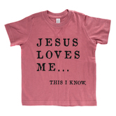 Ruby's Rubbish, Jesus Loves Me, Girl's Short Sleeve T-shirt, Vintage Rose Heather, 2T-5T