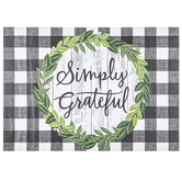 Simply Grateful Buffalo Check Placemats, Black & White, 16 3/4 x 12 inches, 24 Placemats
