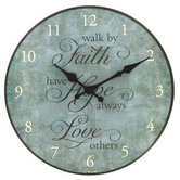 Faith, Hope, Love Round Wall Clock, Distressed Teal Green, 12 inches