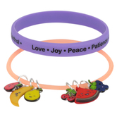 Glitter and Grace, Fruit of the Spirit Silicone Charm Bracelet Set, Pink and Purple, 2 Pieces