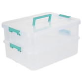 Sterilite, Stack & Carry 2 Layer Box with Handle, Clear & Aqua, 14 1/2 x 10 3/4 x 7 1/2 inches
