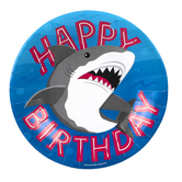 Shark Party Happy Birthday Paper Plates, Small 8-inch, Blue, Gray, White, and Red, 10 Count