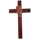 H.J. Sherman, First Communion Wall Cross, Wood, Mahogany, 4 1/2 x 8 inches