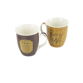 Dicksons, Pastor and Wife Common Grounds Coffee Mug Set, Stoneware, Brown, 16 ounces
