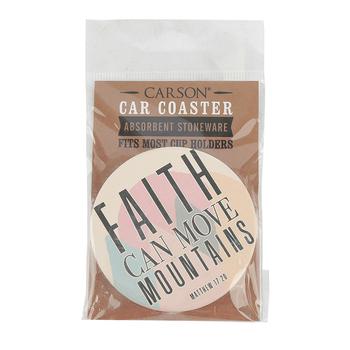 Carson Home Accents, Matthew 17:20 Faith Can Move Mountains Car Coaster, Absorbent Stoneware, 2 3/4 inches