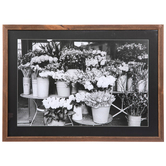 Buckets of Flowers Wall Decor, MDF, Black and White Photo, 16 x 22 x 1 1/4 inches