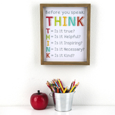 Renewing Minds Classroom Collection, Before You Speak: T.H.I.N.K Wooden Wall Decor, 10 x 12 Inches
