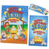 Happy Birthday Jesus Coloring Set, Multi-Colored, 3 Count
