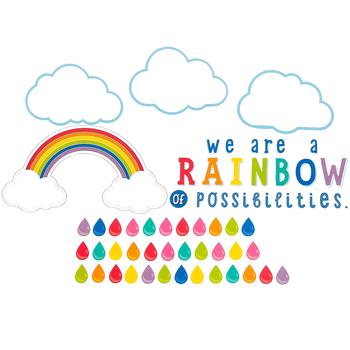 Schoolgirl Style, Hello Sunshine We Are A Rainbow Motivational Bulletin Board Set, 72 Pieces