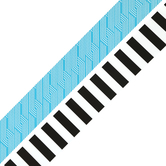 Isabella Collection, Wide Double-Sided Border Trim, 38 Feet, Geometric Blue, White, Black Stripes