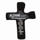 Hand Held Cross, Be Strong and Courageous Deuteronomy 31:6 Soft Foam Cross, Black, 4 3/4 x 3 3/4 inches