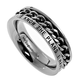 Spirit & Truth, Jeremiah 29:11, I Know, Inset Chain, Women's Ring, Stainless Steel, Sizes 5-9
